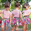 European Style New Pattern Kidsl Suit Stripe Short Sleeve + Flower Skirt Twinset  Girls Clothing sets For age 2 3 4 6 6 7 t
