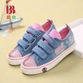 Nova primavera crianças denim tela plana shoes bebê meninas sapatilhas moda infantil topos baixos respirável sapato tenis infantil 6926
