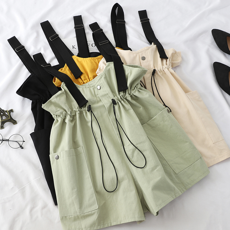 Safari Casual Playsuit Women Lovely Drawstring High Waist Fashion Wide Leg Short   Jumpsuit   Female Solid Overall With Pockets