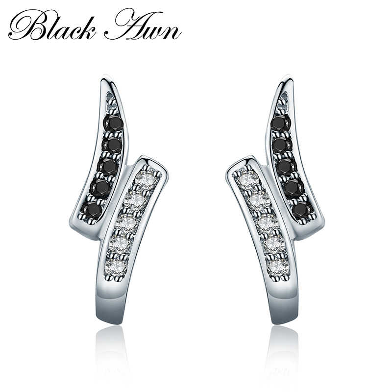 Cute 925 Sterling Silver Natural Black Spinel Engagment Stud Earrings for Women Fine Jewelry T197