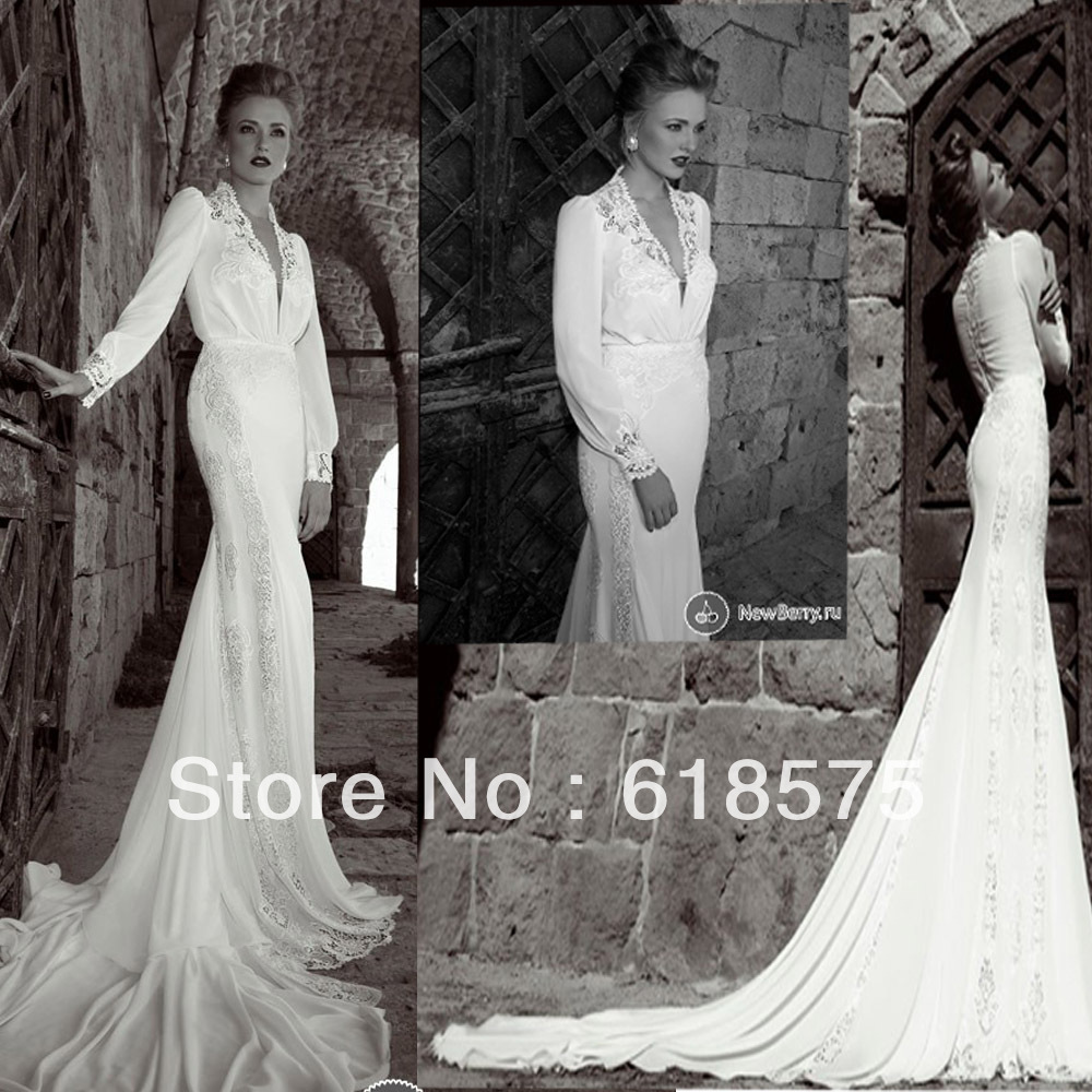 Long Sleeve Wedding Dresses With Long Trains : Long sleeve lace train ivory wedding gowns in dresses