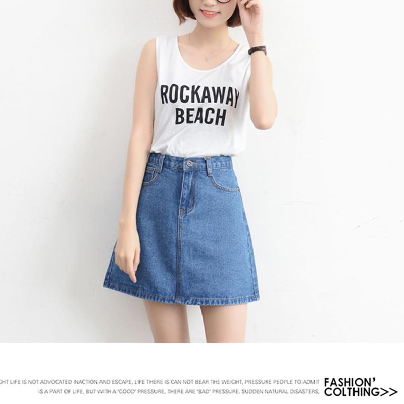 Lucyever Fashion Korean Summer Women Denim Skirt High Waist Black Mini Skirts Package Hip Blue Jeans Harajuku Plus Size Cotton 16
