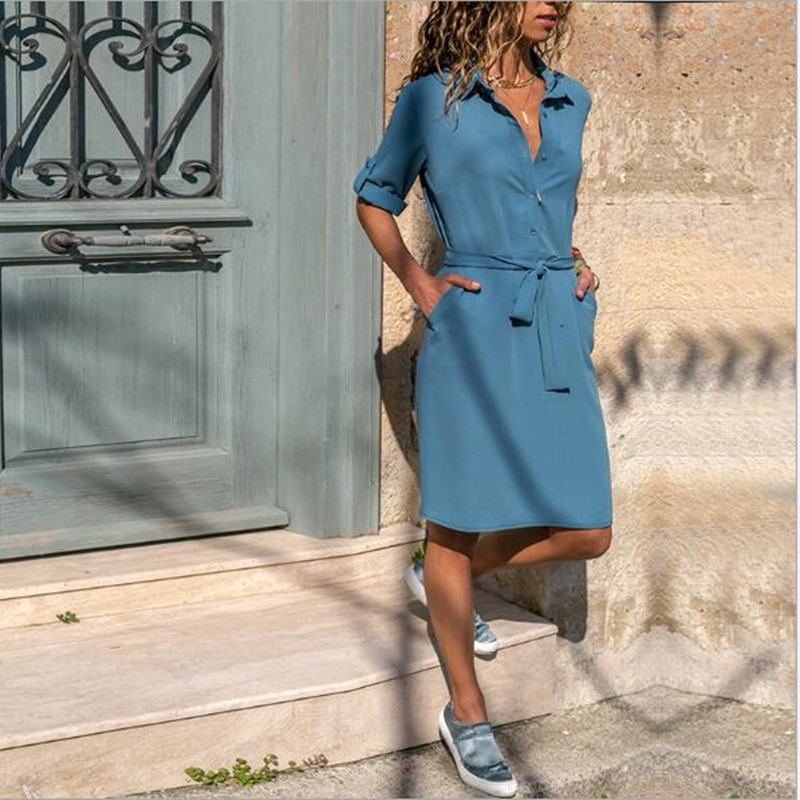 b717824b6d049 ... Shirt Dress Fashion Ladies Turn-Down Collar Casual Loose Dresses  Vestidos Pockets. -20%. Click to enlarge