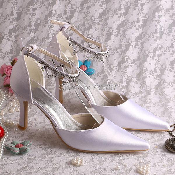 (20 Colors) Italian Style Sexy High Heels Bridal Shoes Wedding Pointy Toe Ankle Strap