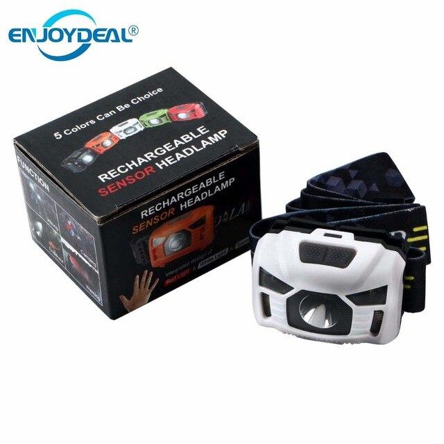 Hot Mini USB Rechargeable LED Headlamp CREE 3000 Lumen IR Body Motion Sensor Headlight Camping Head lamp flashlight lanterna