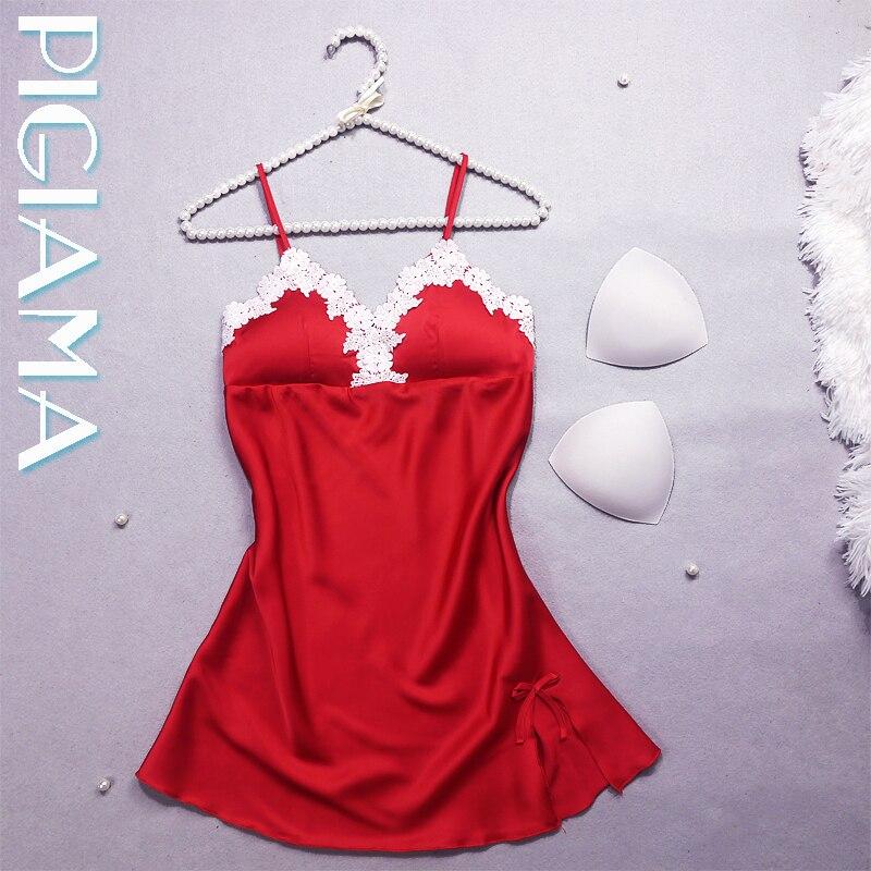 PIGIAMA Women Mini   Nightgowns   Silk Sexy Sleepwear V-neck Floral   Sleepshirt   With Padded Bra Babydolls Lingerie Ladies Homewear