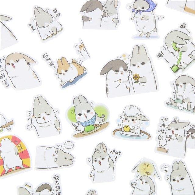 40 Pcs/Pack New Kawaii Chubby Rabbit Series Pet Sticker Pack Hot Sell Deco Packing Stickers Memo Pad Material Escolar Kawaii