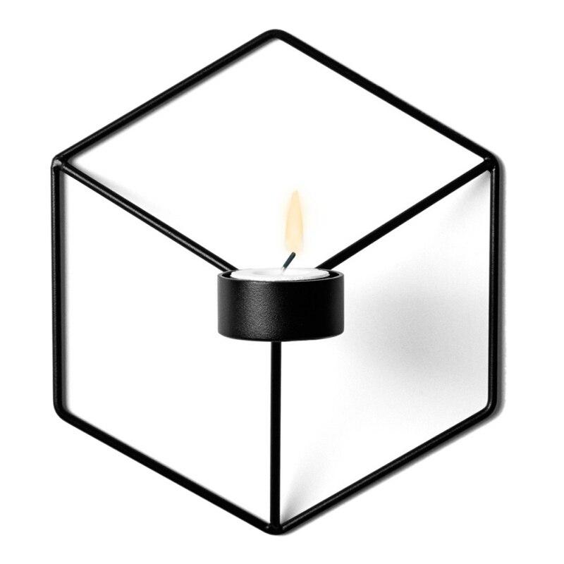 21 см подсвечники Nordic Стиль 3D геометрический Подсвечник металл настенный подсвечник  ...