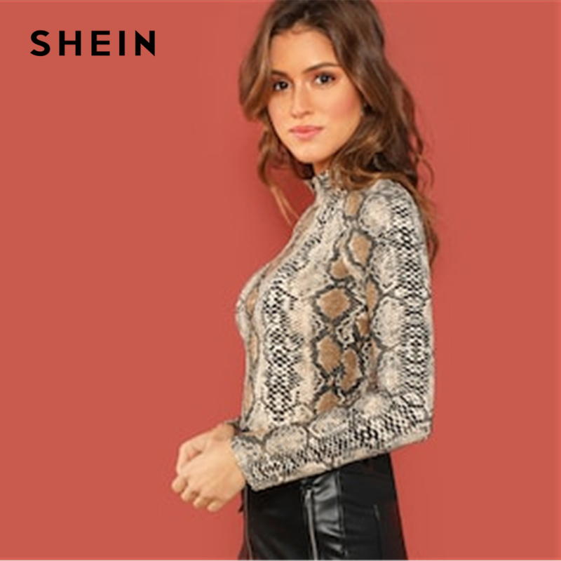 0b1fcf8a674 SHEIN Night Out Multicolor Mock Neck Grid Fitted Stand Collar Long Sleeve T  shirt Autumn Office Lady Casual Women Tshirt Top-in T-Shirts from Women s  ...