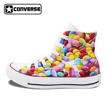 Яркие высокие Converse All Star ручная роспись обувь на заказ оригинальный Дизайн шоколадное драже Для мужчин Для женщин холст кроссовки