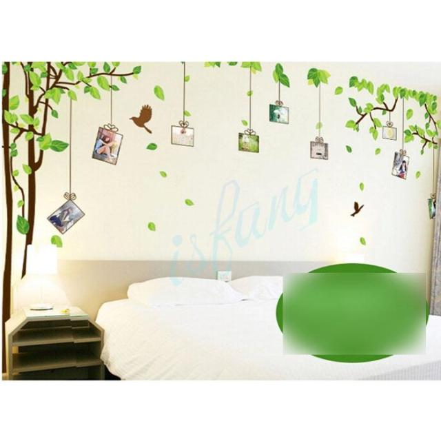 Tree Green Leaf Bird Repositionable Reusable Vinyl Art Wall Sticker