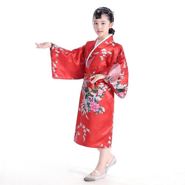 Yeni Kırmızı Baskı Japon Tarzı Bebek Kız Kimono Çocuk Çocuk Vintage Yukata Elbise Yenilik Çocuk Sahne Performansı Kostüm