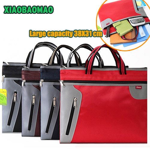 4 Color Commercial Business Document Bag A4 Tote File Folder Filing Bag Meeting Bag Side Zipper Pocket Office Bags For Documents