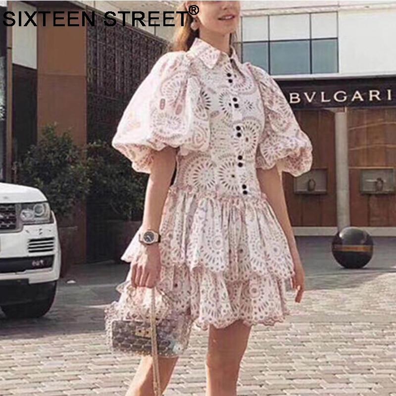 New Woman Vintage Dress Puff Sleeve Turn-down Collar Embroidery Summer Elegant Bud Dresses For Female High End Vestido