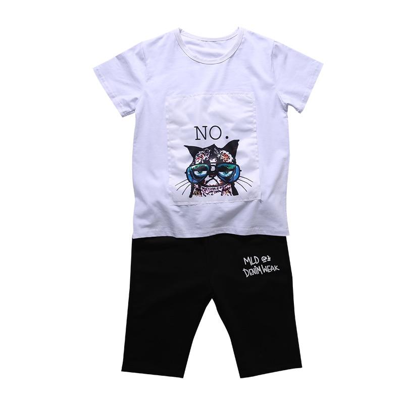 Conjunto Menino Baby Boy Summer Clothes Set 2018 Summer Print Shirt + Shorts 2pcs Boys Outfits Sports Suit Teenagers 5-15 Years
