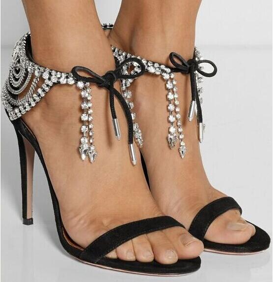 Hot selling factory price sexy sandals bling crystals lace up high heel sandals black/nude cover heel open toe stiletto sandals black sequins embellished open back lace up top