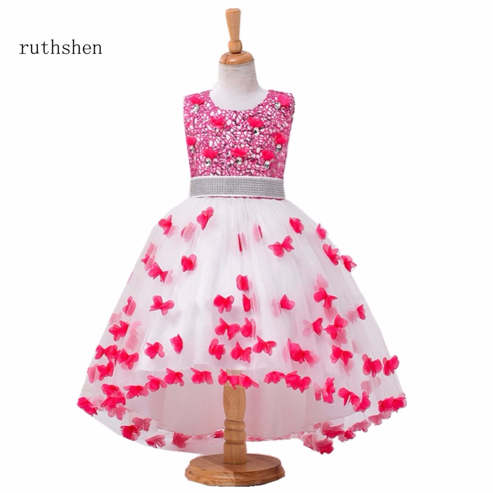 ruthshen In Stock 2018 Princess Baby   Flower     Girls     Dresses   For Weddings With Crystals Beadings Lace Kids Ankle Length Ball Gowns