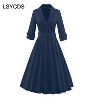 2018 Women Summer Elegant Vintage 50s 60s Rockabilly Party Ball Prom Gown Pinup Notched Red Black Plus Size Swing Dress Mid Calf