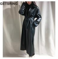 GETSRING Womens Trench Coats PU Leather Windbreaker Single Breasted Lace Up Long Sleeve Long Coat Solid Split Coat Autumn Winter