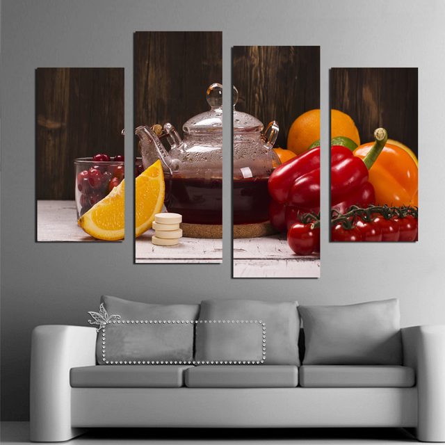4 panel canvas art fruit vegetable drinks modular pictures for