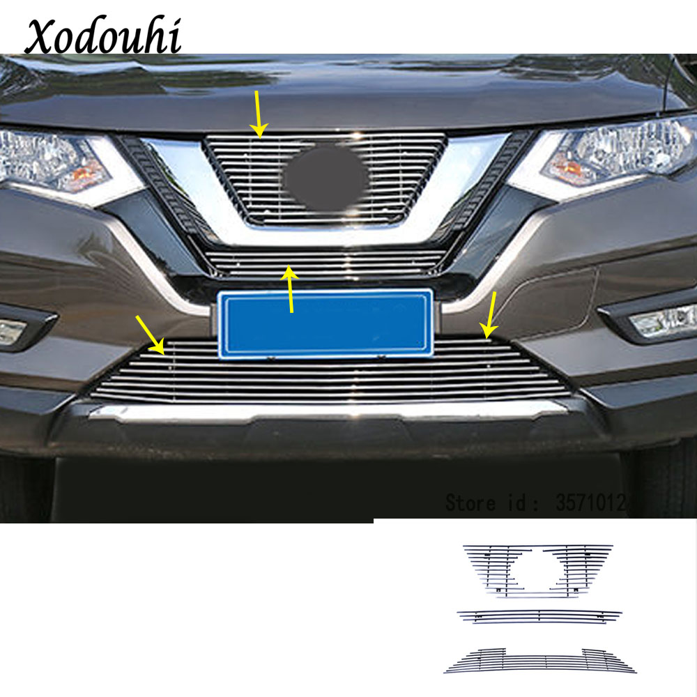 For Nissan X-Trail XTrail T32/Rogue 2017 2018 2019 Car body cover protection detector trim racing Grid Grill Grille molding цена в Москве и Питере