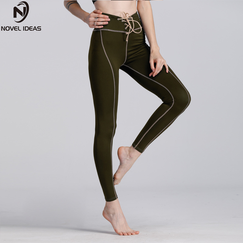 Line Print Athleisure Fitness Slim Leggings Trousers For Female Sexy Workout Gymnasium Elastic Skinny Pants
