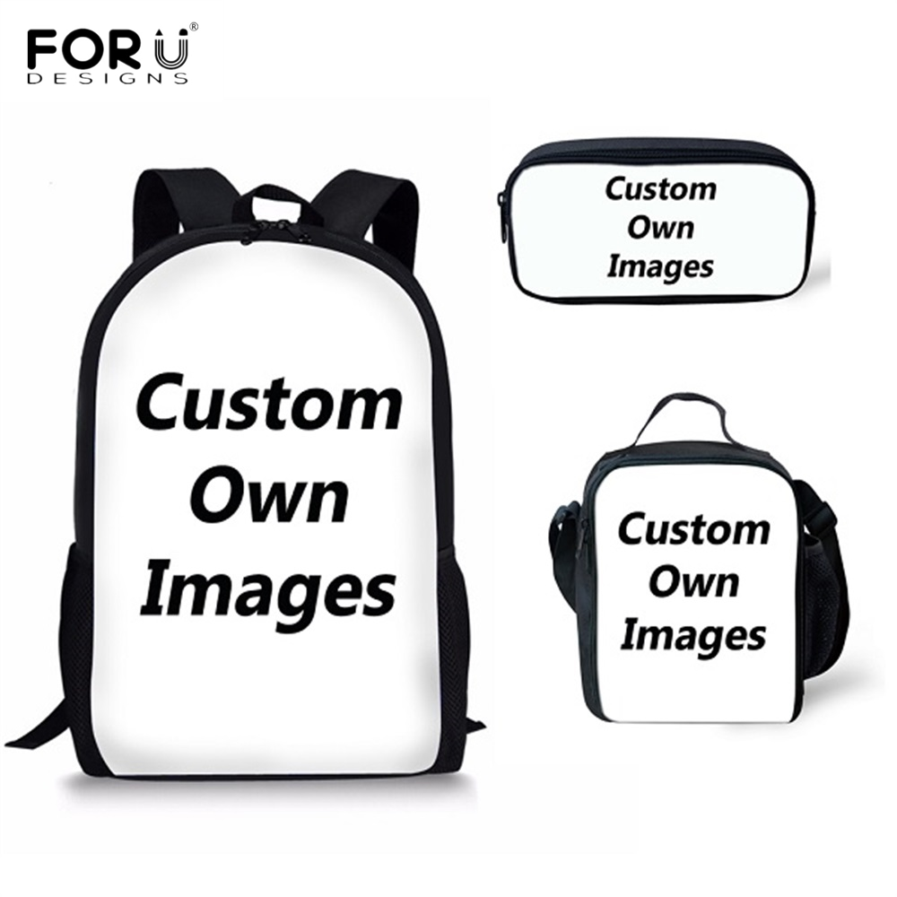 FORUDESIGNS Custom Your Own Logo/Image/Photo Print School Bags For Boys Girls School Students Schoolbag Casual Children Backpack