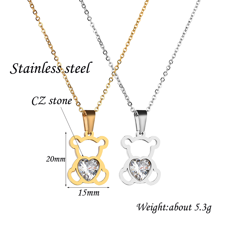 HTB1GkuijDZmx1VjSZFGq6yx2XXa9 - Charm Hollow Cubic Zircon Bear Chain Necklaces For Women Gold Color Animal Necklace Jewelry Gift