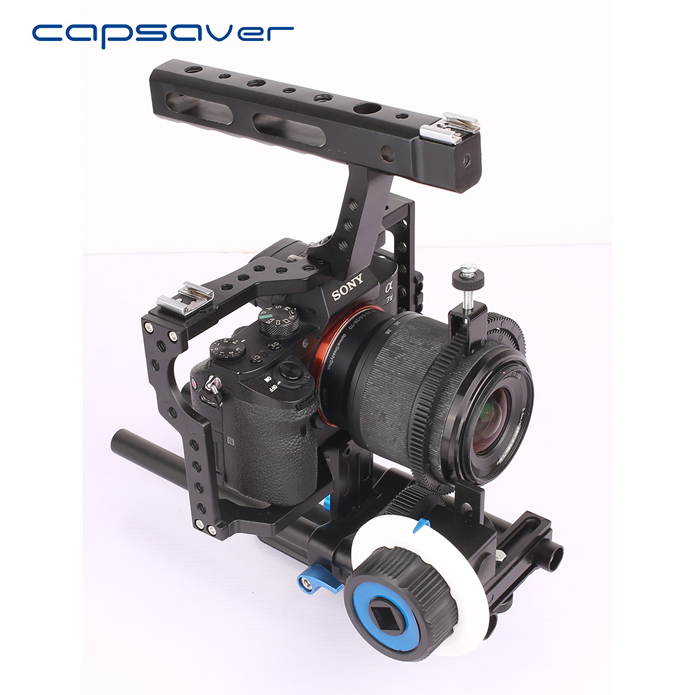 Capsaver 15mm Rod Rig Video DSLR Camera Cage Stabilizer Handle Grip Follow Focus For Sony A7SII A7R A7S A7 A7RII Panasonic GH4