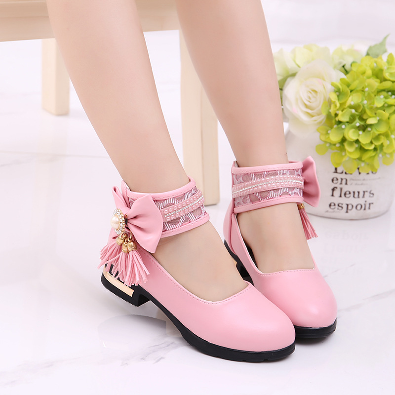 Hot Spring Autumn Children Bowknot Tassel Shoes Girls Princess Shoes Sandals Rhinestone Dancing Kids Party Shoes Size 27~37