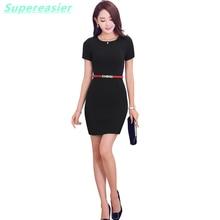Fashion Slim Women Office Dress Black OL Work Pencil Dresses O Neck Short Sleeve Plus Size Party Meeting New 2016 Summer Dress