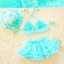 Dollplus New Hot Sale Girl Swimwear Lovely Kids Children Lace Swimmable Swimsuit Beach Bikini Swim Costume 3Pcs