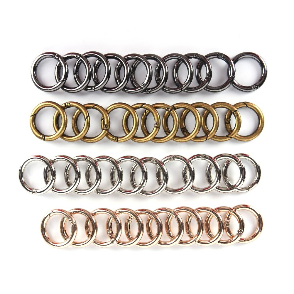 10pcs Metal O Ring Openable Clap For Bags Handbag DIY Snap Clasp Claps Trigger For Handbags Straps For Bag Parts Accessories