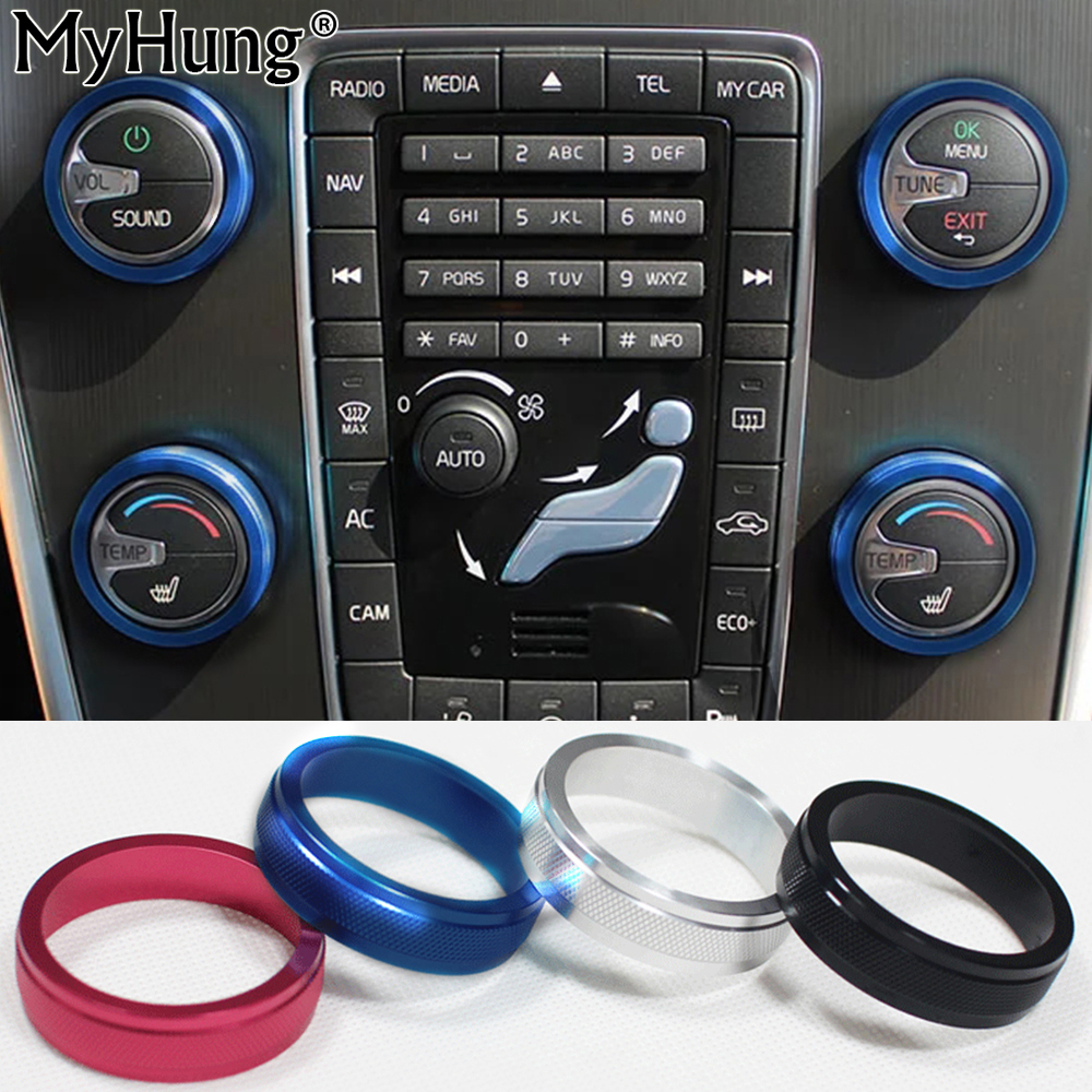 For VOLVO S60 V60 XC60 S80 V40 S60L Car Air Conditioning Rotary Knob AC Knob Aluminium Alloy Heat Control Switch 4pcs