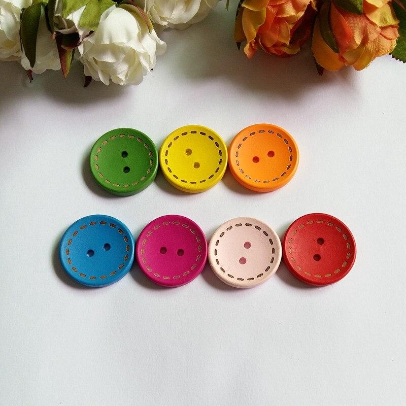 """3//4/"""" multicolore printemps fleur en bois Boutons 10 motif floral coudre boutons 18 mm"""