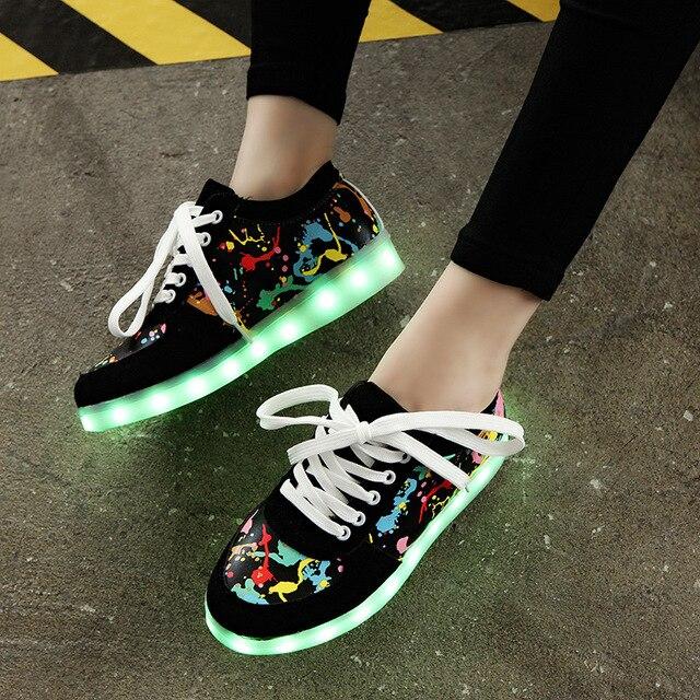 Kriativ de carga usb kid shoes zapatillas zapatillas led con luz brillante up girls shoes infantil tenis led luminoso zapatillas