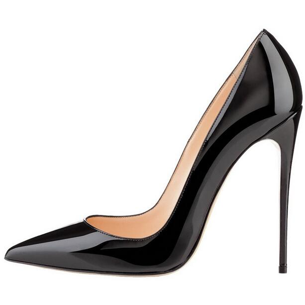 Black Patent Leather Pump Pointed Toe Stiletto High Heel Dress Shoes Fashion Candy Color Office Lady Party Dress Shoes 120MM цена