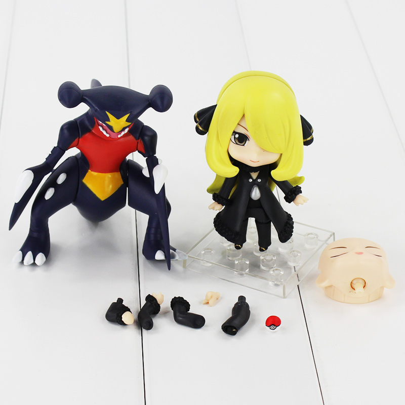 Japanese Anime Action Figure Nendoroid 507# Cynthia PVC Figure Garchomp Model for Collection nendoroid cynthia and garchomp action figures toys anime collectible model 507