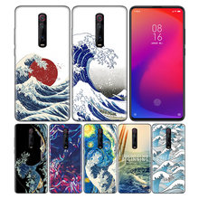 Phone Pattern Black Rubber Soft Silicone Case Bag Cover for Redmi 7A Note 7 6 7S Y3 K20 Pro Core Shell Wave Art Japanese Green(China)