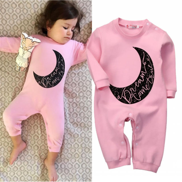 1783a5c3ab68 Newborn kids moon letters Romper Infant Baby Girls Warm Long Sleeve Romper  Jumpsuit Sleepsuit Clothes