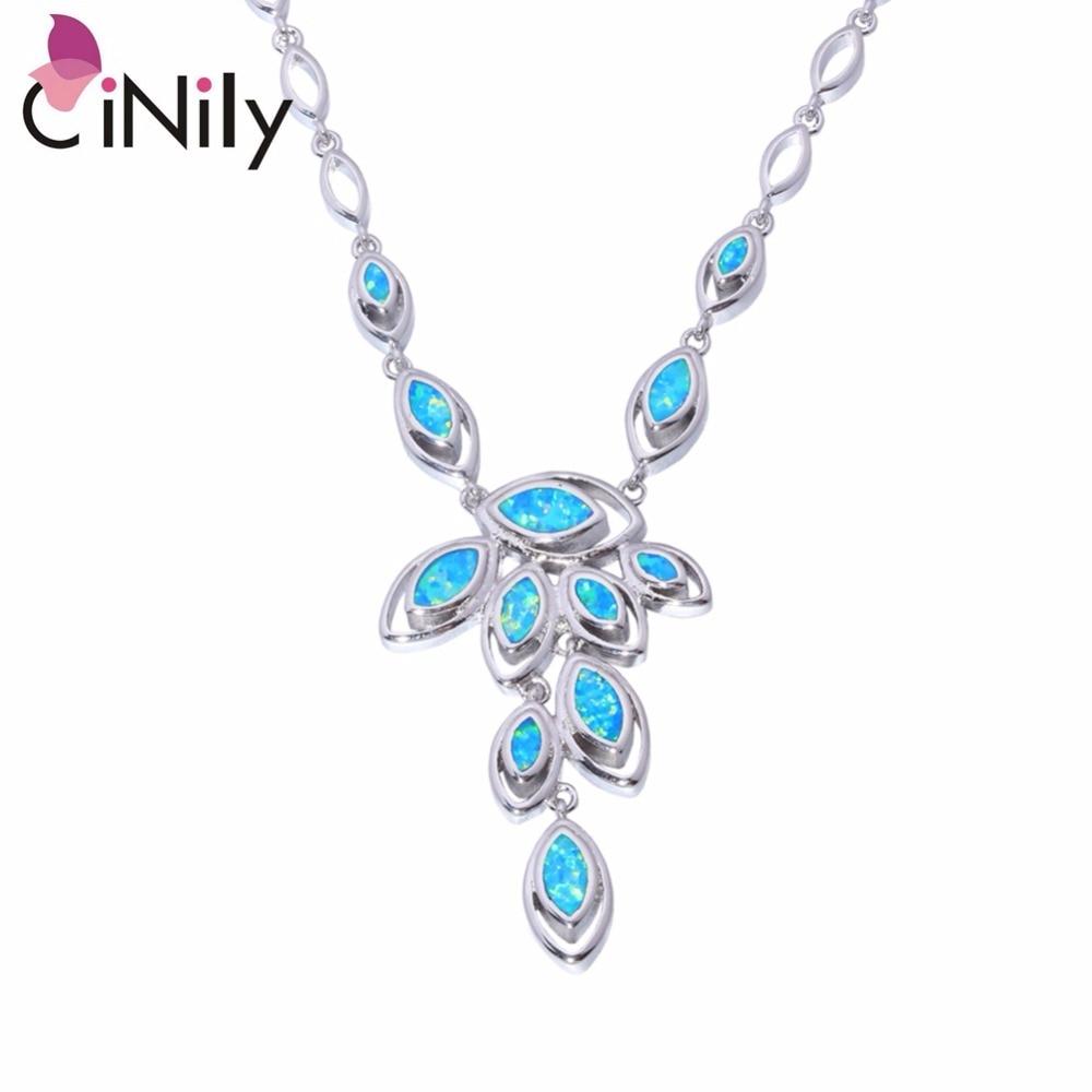 CiNily Blue Fire Opal Stone Lange ketting Verzilverd Blad Bladeren Bohemen Boho Chain Zomerfeest Bruiloft Sieraden Vrouwen Vrouw