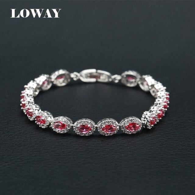 LOWAY Retro Bracelets & bangles Female Vintage Platinum Plated Elegant Crystal Hot Pink for Woman SZ3810