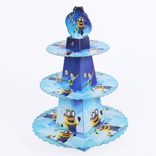 1pcs/set Minions Baby Shower Cartoon Birthday Party Decorations Supplies 3 Tier Cardboard Cupcake Stand 24 Cupcakes