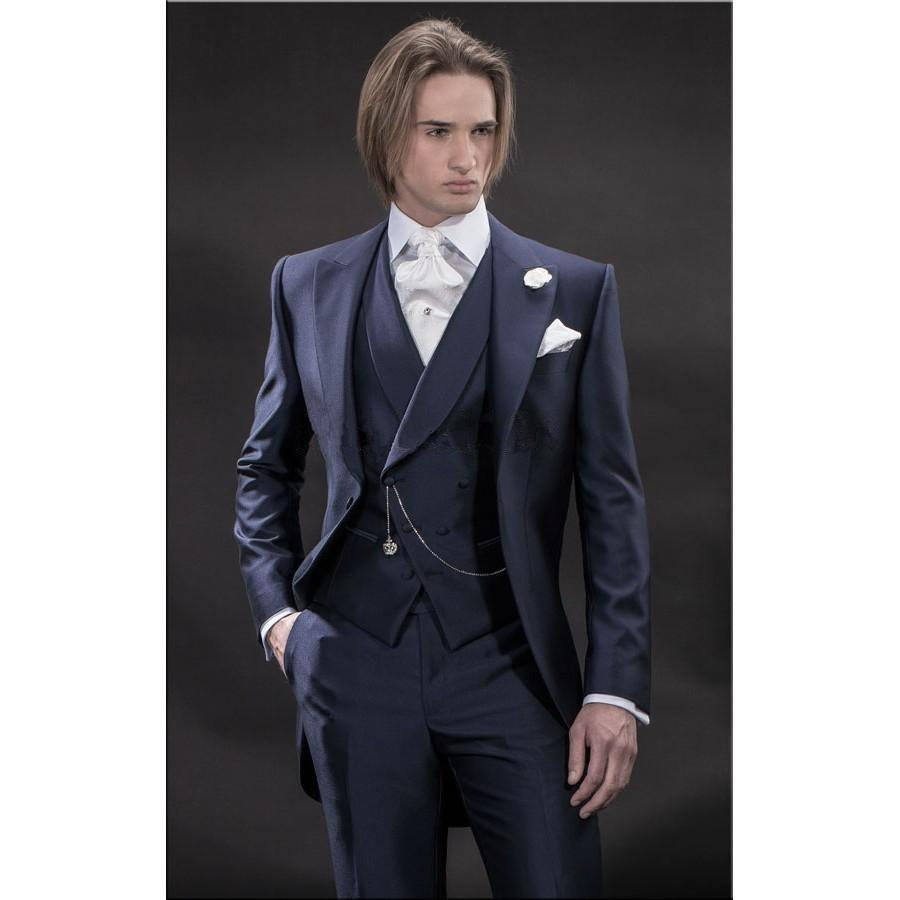 04e6684d7996 Latest Coat Pant Designs Navy Blue Satin Italian Double Breasted Suit For  Men Groom Prom Slim Fit Stylish 3 Pieces Masculino C