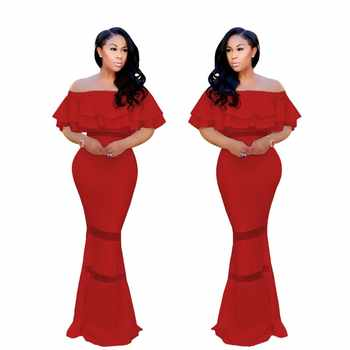 African Clothing Sexy Elegant Ruffle Off Shoulder Backless Maxi Dress Bodycon Long Pencil Solid Color Formal Party - DISCOUNT ITEM  27% OFF All Category