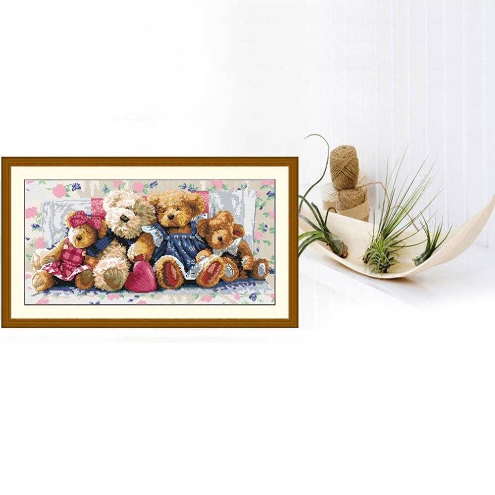 ჱHecho a mano Cruz puntada conjunto Bordado precise impreso oso ...