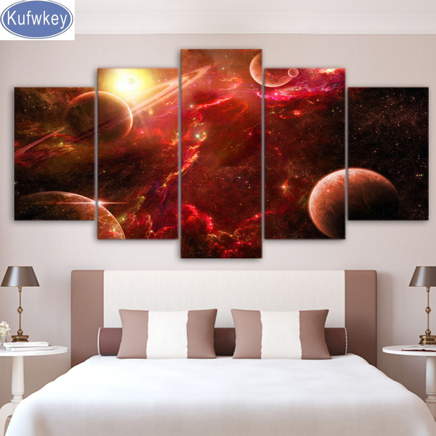 New 5 Pieces Full Square 5D DIY Diamond Painting outer space planets universe stars sale diamond Embroidery diamond Mosaic Decor