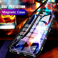 Magnetic Adsorption Flip Metal phone Case For Samsung Galaxy S8 S9 S10 Plus Lite + Note 8 9 Double Front Back Glass Cover Fundas