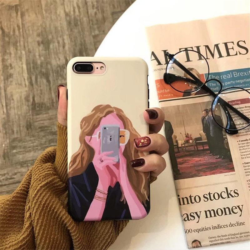 Fashion Cute Girl phone Case For iphone 7 8 6 6s X For iphone7 8 6 6s Plus Lovely Cartoon oil painting soft IMD cases Capa Funda