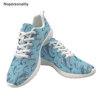 Nopersonality Cute Dolphin Prints Sneakers Women 2019 Ladies Shoes Non slip Comfortable Shoes Female Rubber White Casual Shoes